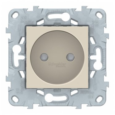 Розетка Schneider Electric Unica NEW NU503344 скрытая установка бежевая без заземления со шторками винтовой зажим