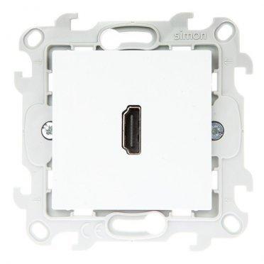 Розетка HDMI Simon 24 Harmonie 2411094-030 скрытая установка белый без заземления один модуль HDMI