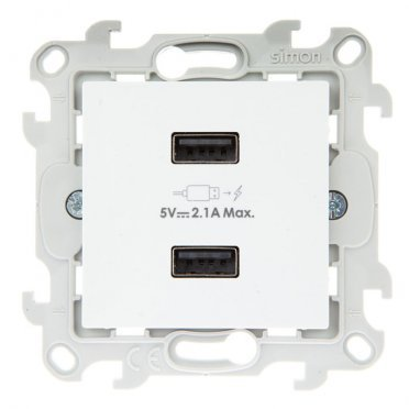 Розетка Simon 24 Harmonie 2411096-030 скрытая установка белая без заземления два модуля USB