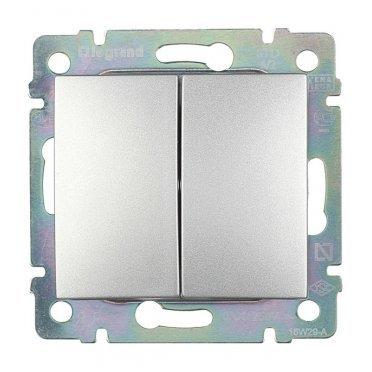 Переключатель Legrand Valena 694339 двухклавишный на 2 направления скрытая установка алюминий