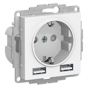 Розетка Schneider Electric Atlas Design ATN000130 скрытая установка белая с заземлением два модуля USB