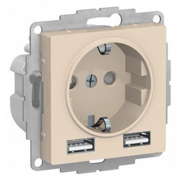 Розетка Schneider Electric Atlas Design ATN000230 скрытая установка бежевая с заземлением два модуля USB