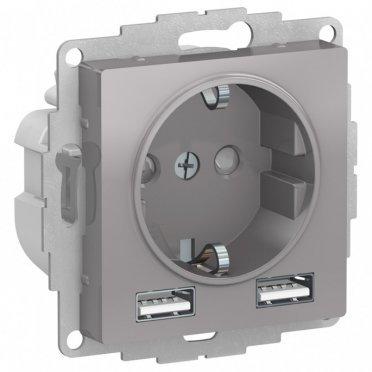 Розетка Schneider Electric Atlas Design ATN000330 скрытая установка алюминий с заземлением два модуля USB