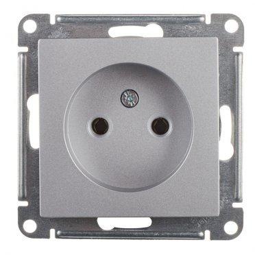 Розетка Schneider Electric Atlas Design ATN000341 скрытая установка алюминий без заземления