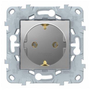 Розетка Schneider Electric Unica NEW NU503630 скрытая установка алюминий с заземлением винтовой зажим