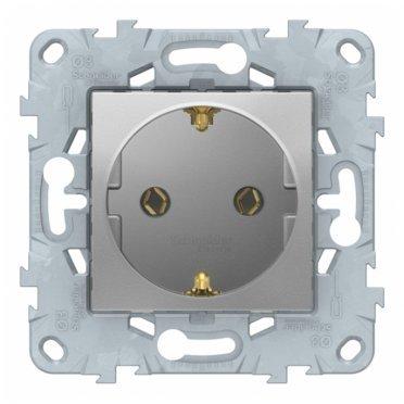 Розетка Schneider Electric Unica NEW NU505630 скрытая установка алюминий с заземлением с быстрозажимными клеммами