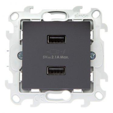Розетка USB Simon 24 Harmonie 2411096-038 скрытая установка графит без заземления два модуля USB