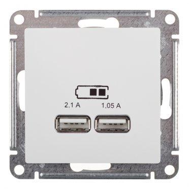 Розетка USB Schneider Electric Atlas Design ATN000133 скрытая установка белая два модуля USB