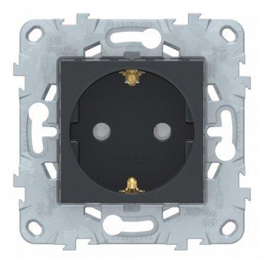 Розетка Schneider Electric Unica NEW NU505754 скрытая установка антрацит с заземлением со шторками с быстрозажимными клеммами