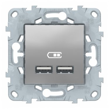Розетка USB Schneider Electric Unica NEW NU541830 скрытая установка алюминий 2100 мА два модуля USB