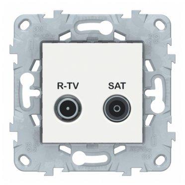 Розетка телевизионная Schneider Electric Unica NEW NU545418 оконечная R-TV-SAT скрытая установка белая