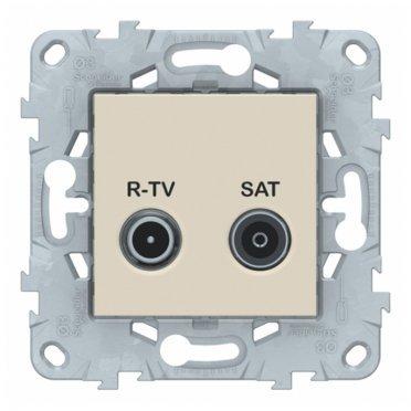 Розетка телевизионная Schneider Electric Unica NEW NU545444 оконечная R-TV-SAT скрытая установка бежевая