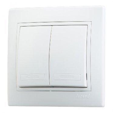 Выключатель с рамкой Lezard MIRA 701-0202-101 двухклавишный скрытая установка белый