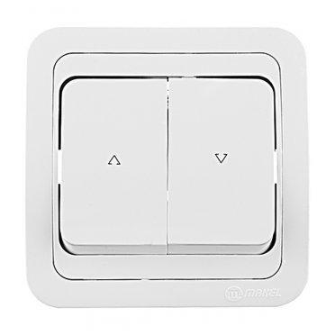 Кнопка управления жалюзи с рамкой Makel Mimoza 12041 двухклавишный скрытая установка белый