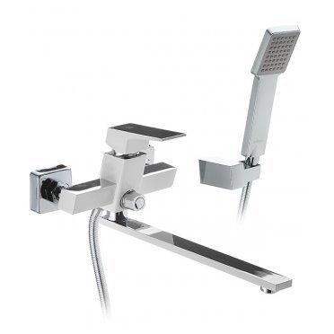 Смеситель для ванны и душа ARGO PREMIUM GRANO 35-L35P c длинным изливом однорычажный с лейкой белый/хром