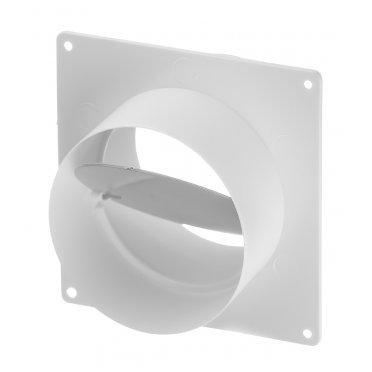 Соединитель для круглых воздуховодов Вентс с накладной пластиной с обратным клапаном пластиковый 170х170 мм
