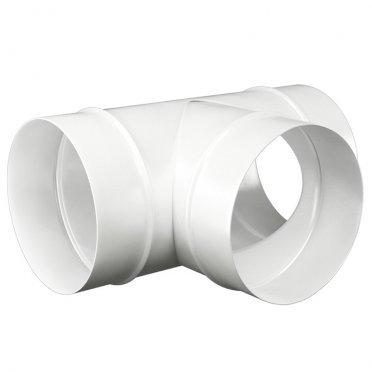 Тройник для круглых воздуховодов d100 мм стальной ERA белый