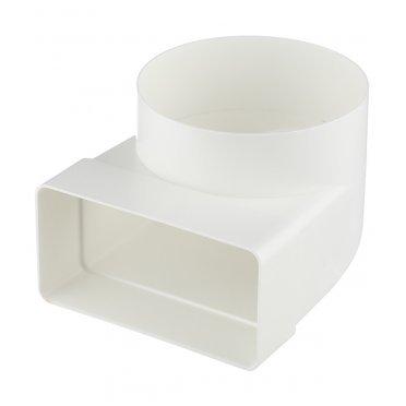 Соединитель угловой пластиковый для плоских воздуховодов 55х110 мм с куглыми d100 мм