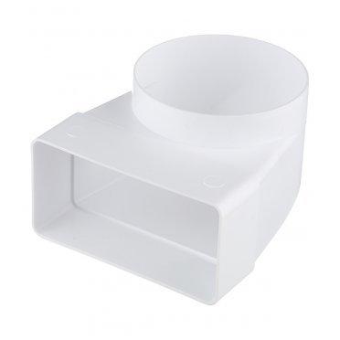 Соединитель угловой пластиковый для плоских воздуховодов 60х120 мм с круглыми d100 мм