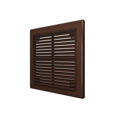 Решетка вентиляционная пластиковая приточно-вытяжная ERA 150х150 мм с сеткой коричневая