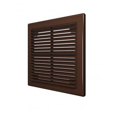 Решетка вентиляционная пластиковая приточно-вытяжная ERA 208х208 мм с сеткой коричневая