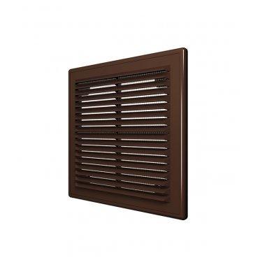 Решетка вентиляционная пластиковая приточно-вытяжная ERA 183х253 мм с сеткой коричневая