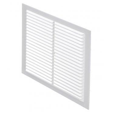Решетка вентиляционная пластиковая приточно-вытяжная Вентс 192х192 мм с сеткой белая