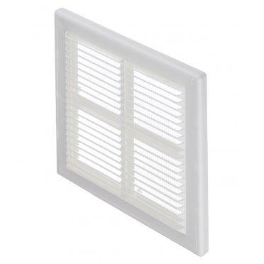 Решетка вентиляционная пластиковая приточно-вытяжная Вентс 204х204 мм с сеткой белая
