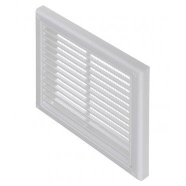 Решетка вентиляционная пластиковая приточно-вытяжная Вентс 186х186 мм с сеткой белая